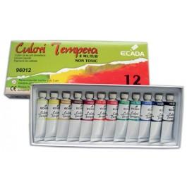 Acuarele tuburi tempera Ecada 12 culori