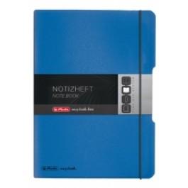 Caiet My.Book Flex Herlitz A5 2x40f dictando+matematica albastru transparent