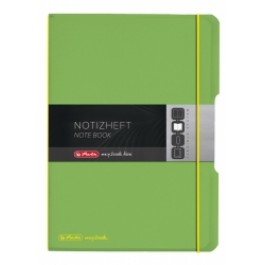 Caiet My.Book Flex Herlitz A5 2x40f dictando+matematica verde transparent