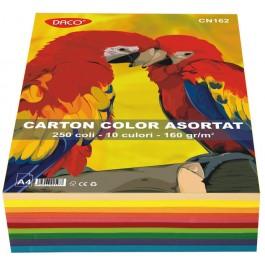 Carton colorat asortat A4 160g 10 culori 250 coli