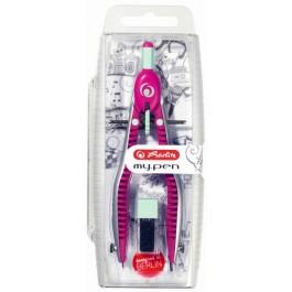Compas cu setare rapida Herlitz My Pen - roz turcoaz