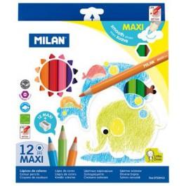Creioane colorate groase Milan Maxi 12 culori hexagonale