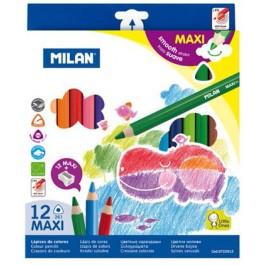 Creioane colorate groase Milan Maxi 12 culori - magazinbirotica.ro