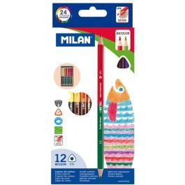 Creioane colorate Milan Bicolor 12 creioane 24 culori