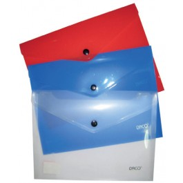 Mapa plastic cu capsa A5 Daco - transparenta, albastra sau rosie
