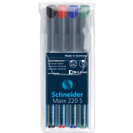 Marker OHP permanent Schneider Maxx 220S 4 culori/set