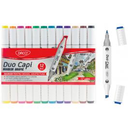 Marker grafic 12 culori Duo Capi Daco