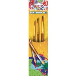 Pensule scolare 3/set vf ascutit nr.3/7/11 ColourKids