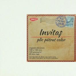 Plic colorat patrat 14x14 alb