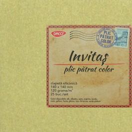 Plic colorat patrat 14x14 auriu
