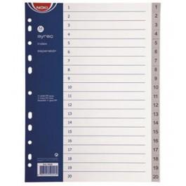 separatoare index din plastic Noki 1-20