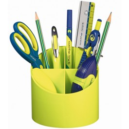 Suport plastic instrumente de scris Herliz  4 compartimente - Sporty Lemon