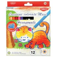 Creioane colorate groase Daco Maxi 12 culori