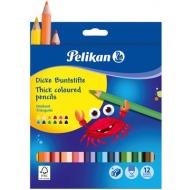 Creioane colorate groase Pelikan 12 culori + ascutitoare