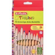 Creioane colorate triunghiulare Herlitz Trilino 12 culori