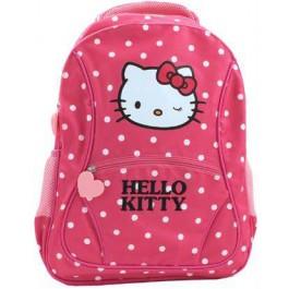Ghiozdan Hello Kitty roz inchis cu buline