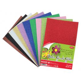 Hartie gumata glitter autoadeziva 10 culori Daco