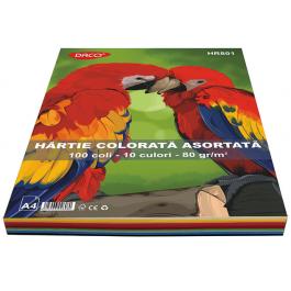 Hartie colorata asortata A4 80g 100 coli 10 culori