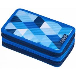 Penar echipat Herlitz 3 fermoare - Blue Cubes