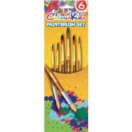 Pensule scolare 6/set vf ascutit nr.2/4/6/8/10/12 ColourKids