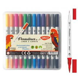 Pix liner si pensula Pensuliner 12 culori Daco