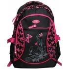 Ghiozdan scolar Ecada 61133 Fluturasi 2 negru cu roz