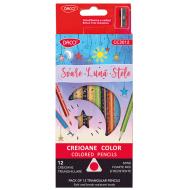 Creioane colorate Daco Soare Luna Stele 12 culori