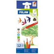 Creioane colorate triunghiulare Milan 12 culori