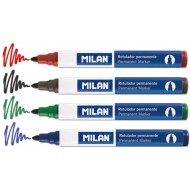 Marker permanent Milan - Rosu, Negru, Verde, Albastru