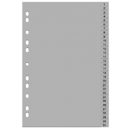 Separatoare index din plastic - cifre 1-12